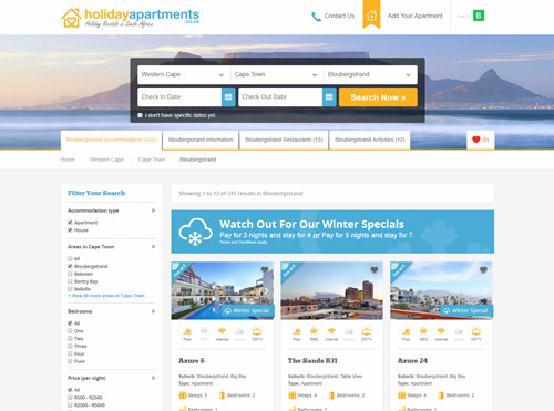 Landing Page Created for Holiday Apartments for SEO and Google Ads