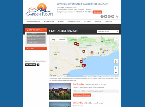 Landing Page Created for Hello Garden Route for SEO