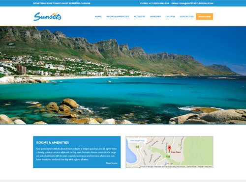 Wordpress Website Designed for a Guest House in Camps Bay